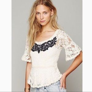 FREE PEOPLE Lace Peplum Top with Black Appliqué M